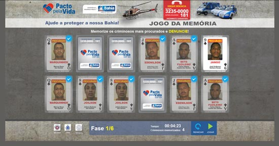 Jogo da memória faz parte do programa Pacto pela Vida, da Secretaria de Segurança Pública da Bahia