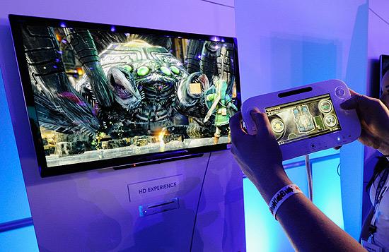 Demonstração do console Wii U, durante a feira E3