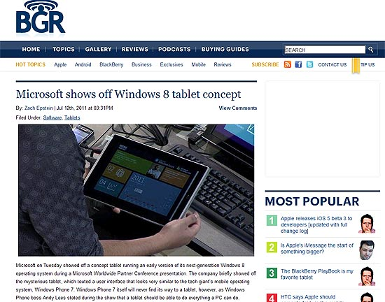 O site BGR exibe o tablet funcionando com Windows 8