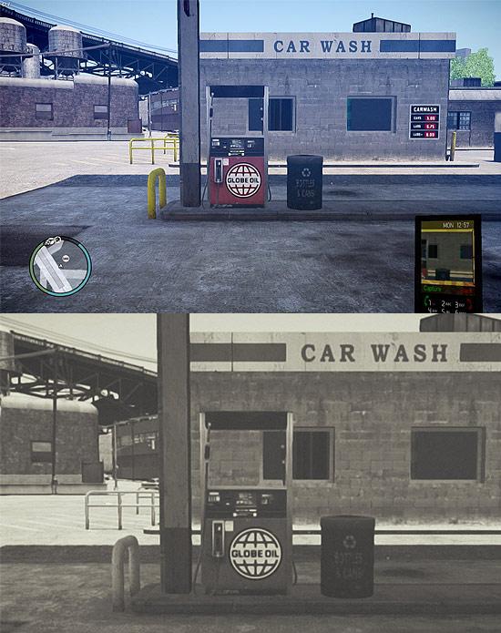 No topo, tela do jogo GTA IV; acima, imagem tratada pelo brasileiro Leonardo Sang