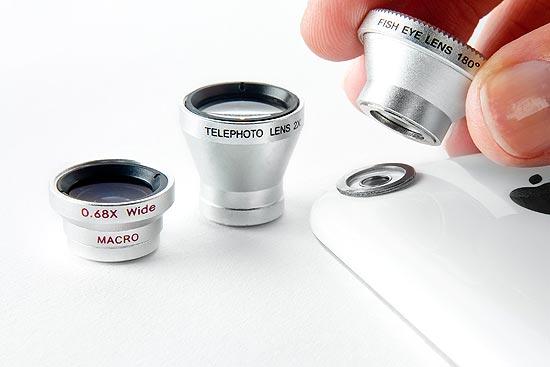 Lentes fotográficas desenvolvidas pela Photojojo para câmeras de telefones celulares
