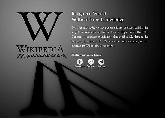 Página da Wikipédia, que saiu do ar em protesto contra lei antipirataria americana