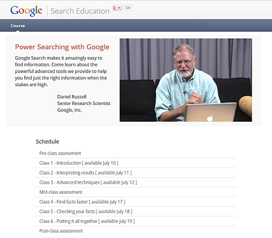 "Site do curso ""Power Searching with Google"""