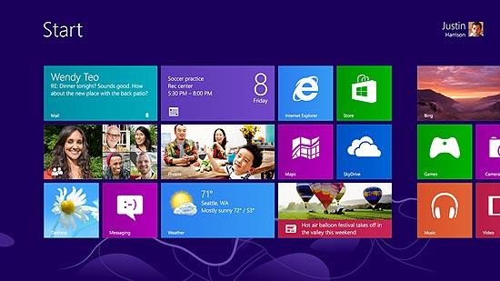 Tela do Windows 8, que foi liberado para download em versão de avaliação válida por 90 dias