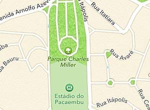"""Praça Charles Miller, em São Paulo, que no aplicativo de mapas do iOS virou """"Parque Charles Miller"""""""