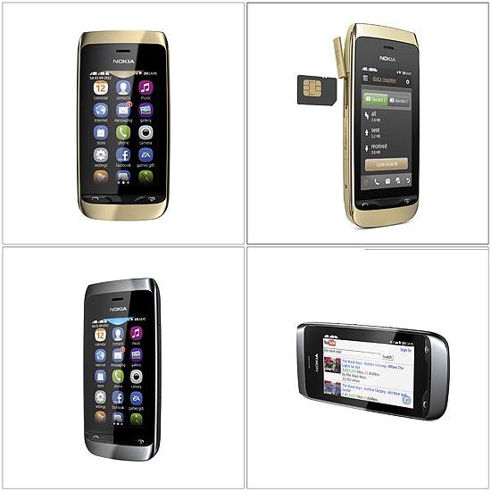 """Smartphones de """"custo médio"""" da Nokia: no topo, o Asha 308; abaixo, o Asha 309. Ambos devem ser lançados no quarto trimestre deste ano"""