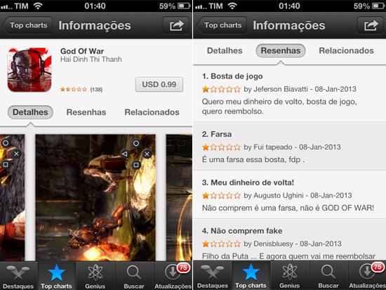 """Imagens do jogo falso de """"God of War"""", disponível na App Store"""