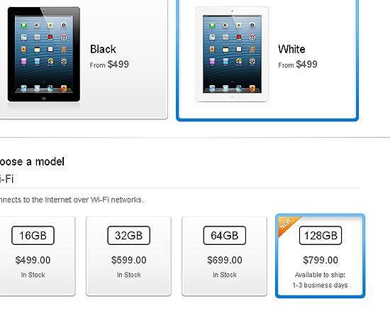 Imagem da loja virtual da Apple, onde o iPad com 128 Gbytes de memória já está à venda