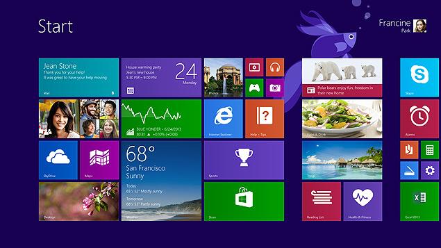 Imagem da versão atualizada do Windows 8, o Windows 8.1