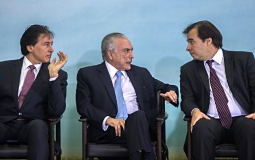 O presidente Michel Temer e os presidentes, do Senado Eunício Oliveira, e da Câmara, Rodrigo Maia, promove o lançamento do plano Safra 2017/2018, no Palácio do Planalto
