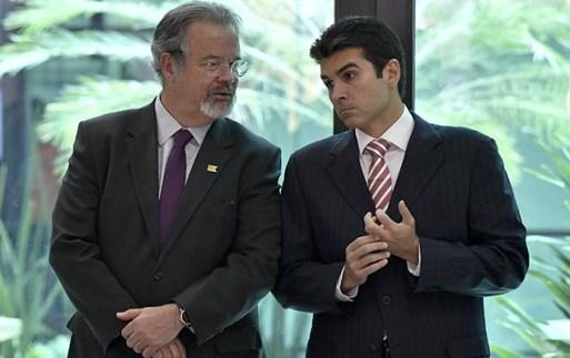 Os ministros Raul Jungmann e Helder Barbalho no lançamento do sistema de previsão de enchentes na Amazônia, no Censipam, em Brasília