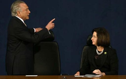 O presidente Michel Temer na cerimônia de posse de Raquel Dodge na PGR