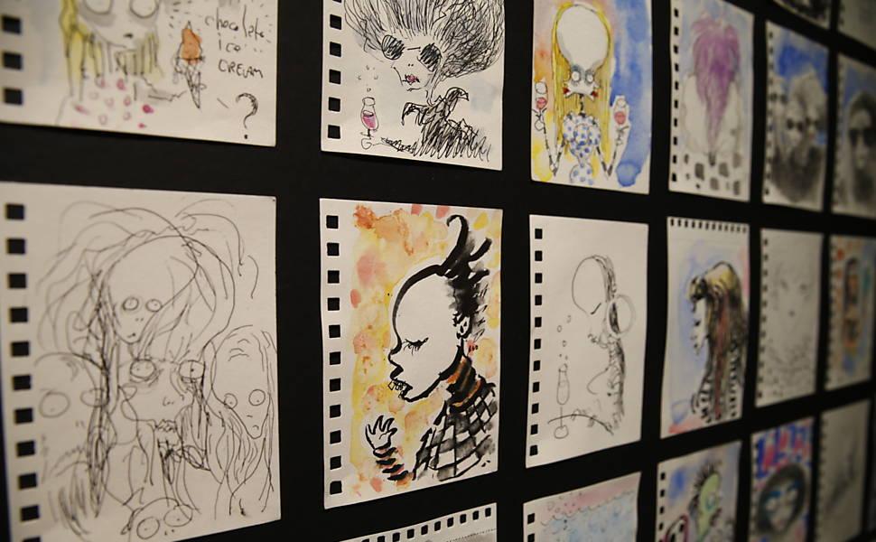Desenhos de Tim Burton que estão na exposição dedicada ao cineasta americano no MIS, em São Paulo