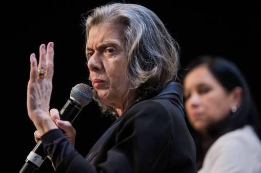 A ministra do STF Carmen Lúcia durante evento ligado ao Fórum Econômico Mundial, em São Paulo