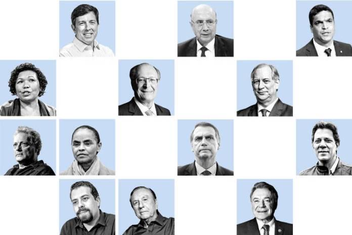 Montagem com o rosto dos 13 candidatos à Presidência em 2018