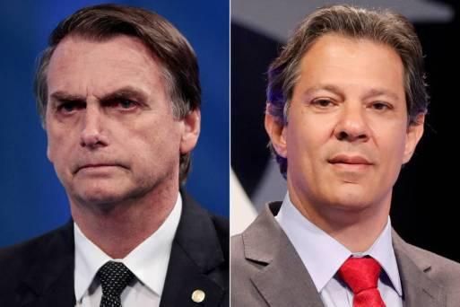 Os presidenciáveis Jair Bolsonaro (esq.) e Fernando Haddad (PT), que encabeçam a pesquisa CNT/MDA