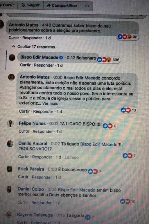 Comentários em Facebook do bispo Edir Macedo, sobre apoio a Bolsonaro