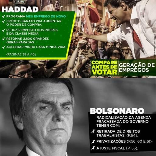 Panfleto petista com propostas de Haddad e críticas a Bolsonaro