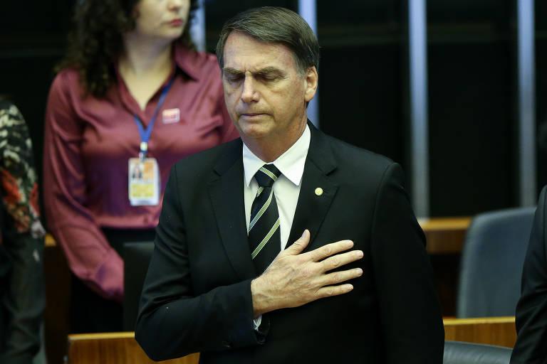 O presidente eleito Jair Bolsonaro participa de Sessão Solene do Congresso Nacional em homenagem aos 30 anos da Promulgação da Constituição Federal de 88
