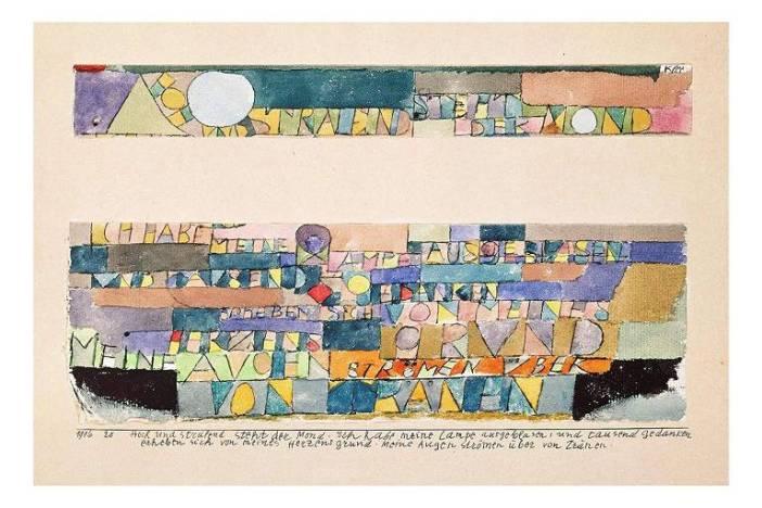 """""""Hoch und strahlend steht der Mond"""" (a lua surge alto e brilhante), Paul Klee, 1916"""