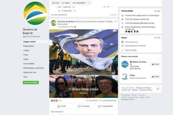 Perfis do governo na web fazem publicações a favor de Bolsonaro