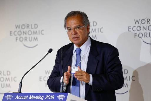 O Ministro da Economia, Paulo Guedes, no Fórum Econômico Mundial, em Davos