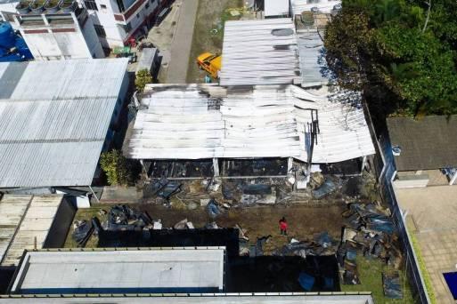 Imagem aérea do Ninho do Urubu, centro de treinamento do Flamengo, após incêndio que deixou dez mortos e três feridos