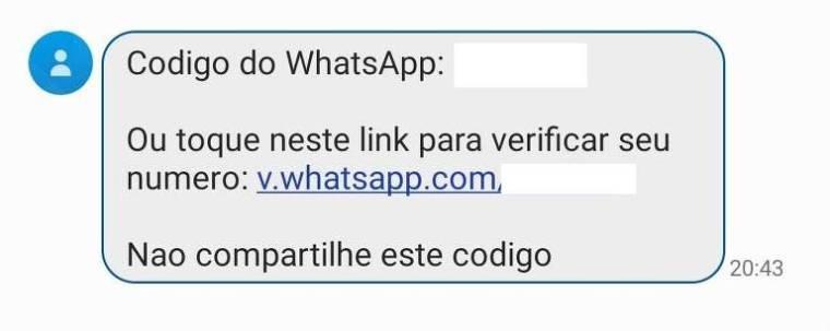 """Mensagem SMS que diz """"Código do WhatsApp: (código oculto) Ou toque neste link para verificar seu número: v.whatsapp.com/(código oculto). Não compartilhe este código"""""""