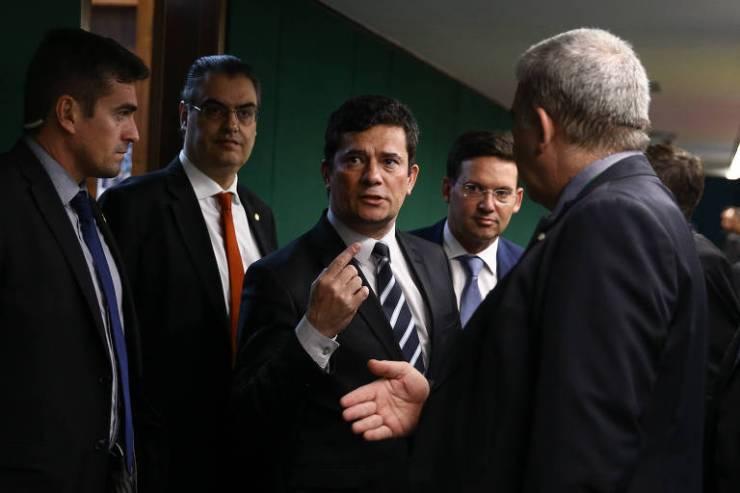 O ministro da Justiça, Sergio Moro, após reunião na Câmara sobre o pacote anticrime