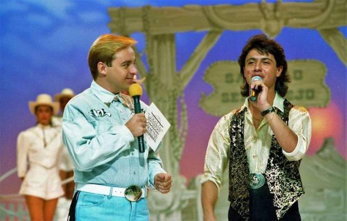 Gugu no programa 'Sabadão Sertanejo', em 1991