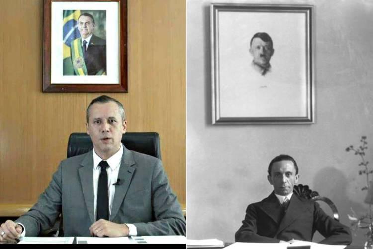 Montagem mostra Roberto Alvim, à esq., e Joseph Goebbels, à dir.