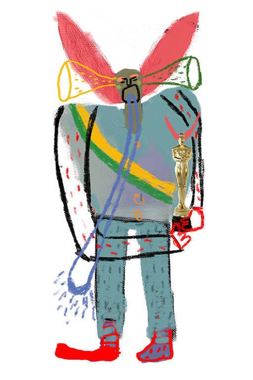 Ilustração de Bozo chorando, segurando um oscar, com faixa verde e amarela
