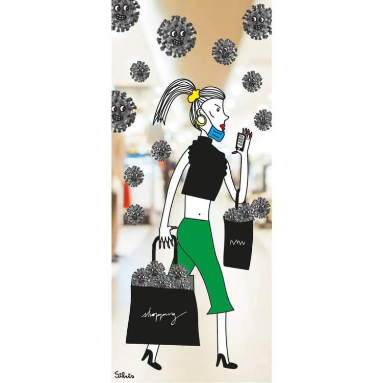 Ilustração de uma mulher andando em um shopping com um celular e sacolas nas mãos. Ela está bem vestida e está com a máscara descartável apoiada no queixo