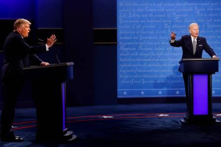 O presidente Donald Trump e o ex-vice-presidente Joe Biden debatem pela primeira vez