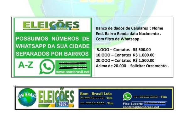 Prospecto de empresa que vende banco de dados contendo celulares com nome, endereço, bairro, renda e data de nascimento de eleitores