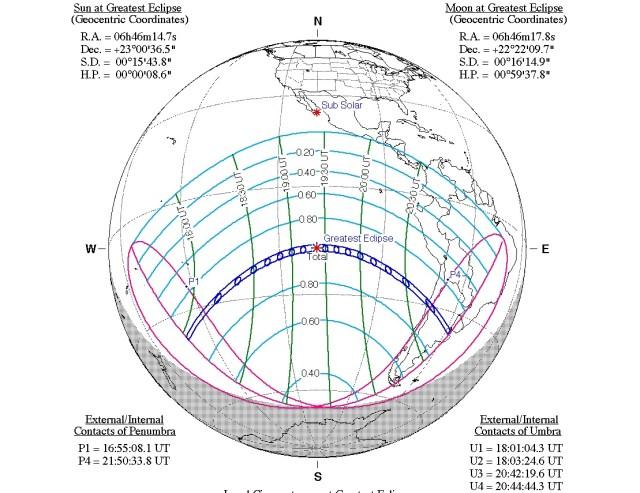 Estas son las zonas donde pasará el eclipse solar total del 2 de julio de 2019.