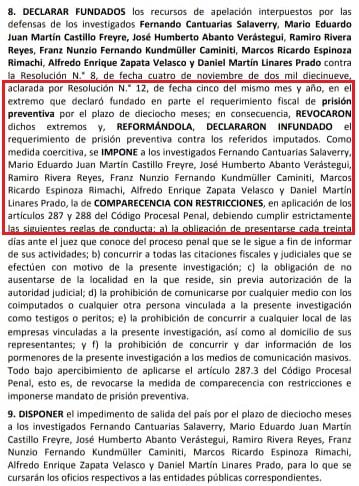 Parte de la Resolución de la Sala Penal Nacional.