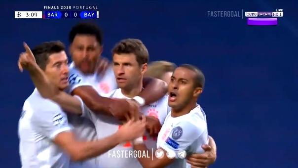 Thomar Müller abrió el marcador en el Bayern Munich vs. Barcelona por los cuartos de final de la Champions League