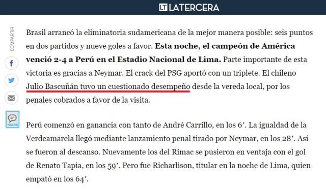 El diario La Tercera señala que el chileno Julio Bascuñán tuvo un cuestionable desempeño en el arbitraje.