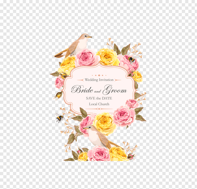 Pink And Yellow Rose Ornaments Wedding