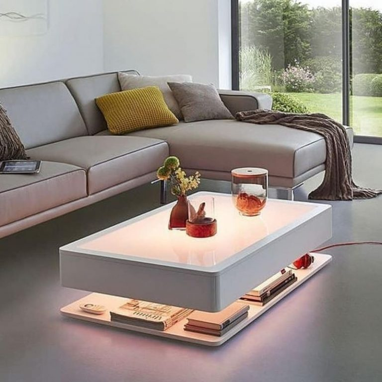 coffee table putih berlampu kuning