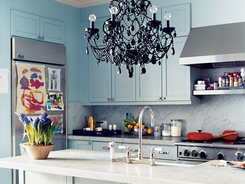 Kitchen set warna dusty slate blue