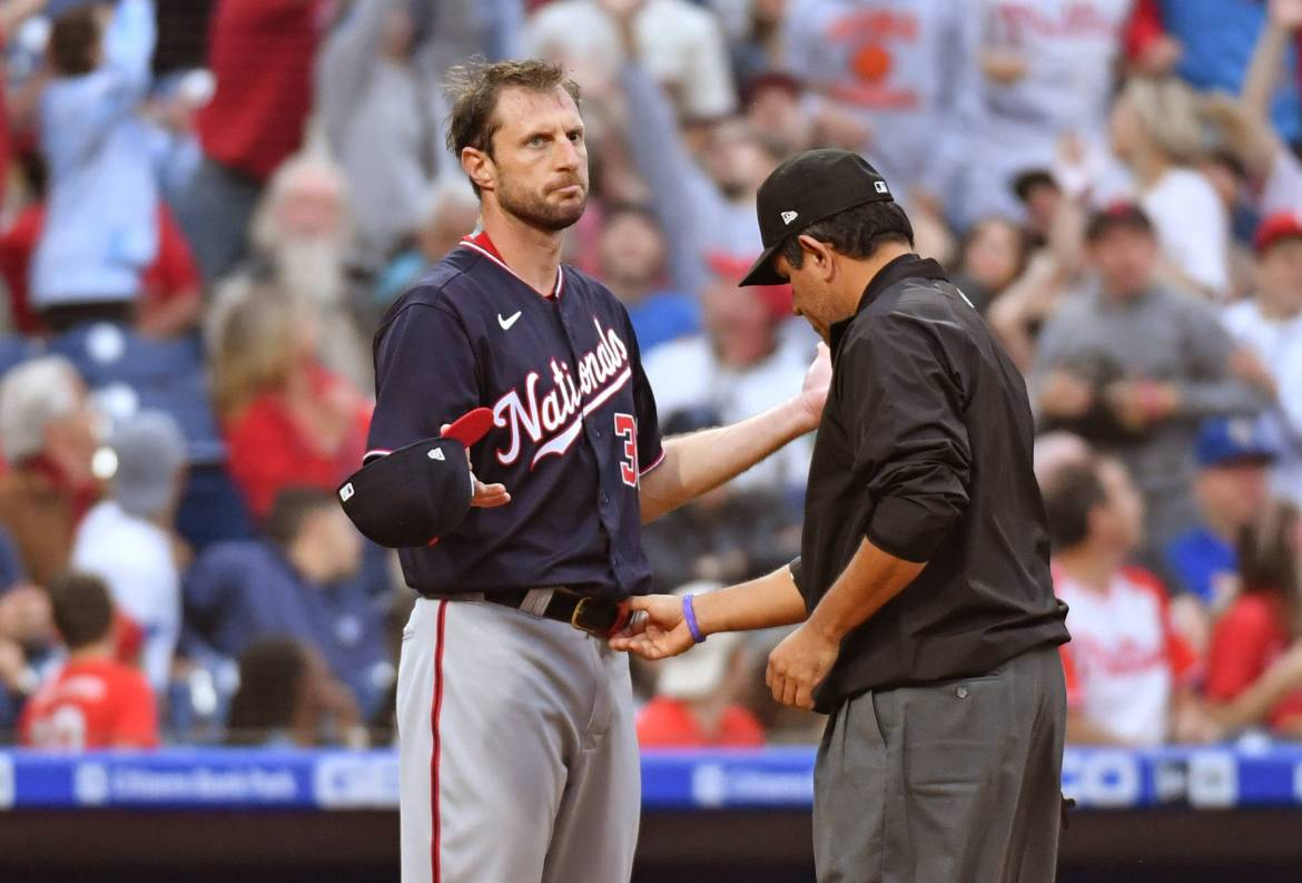 Nationals pitcher Max Scherzer is checked for foreign substances on Tuesday in Philadelphia. | USA TODAY / VIA REUTERS