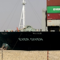 The Ever Given container ship in the Suez Canal on March 29.    REUTERS