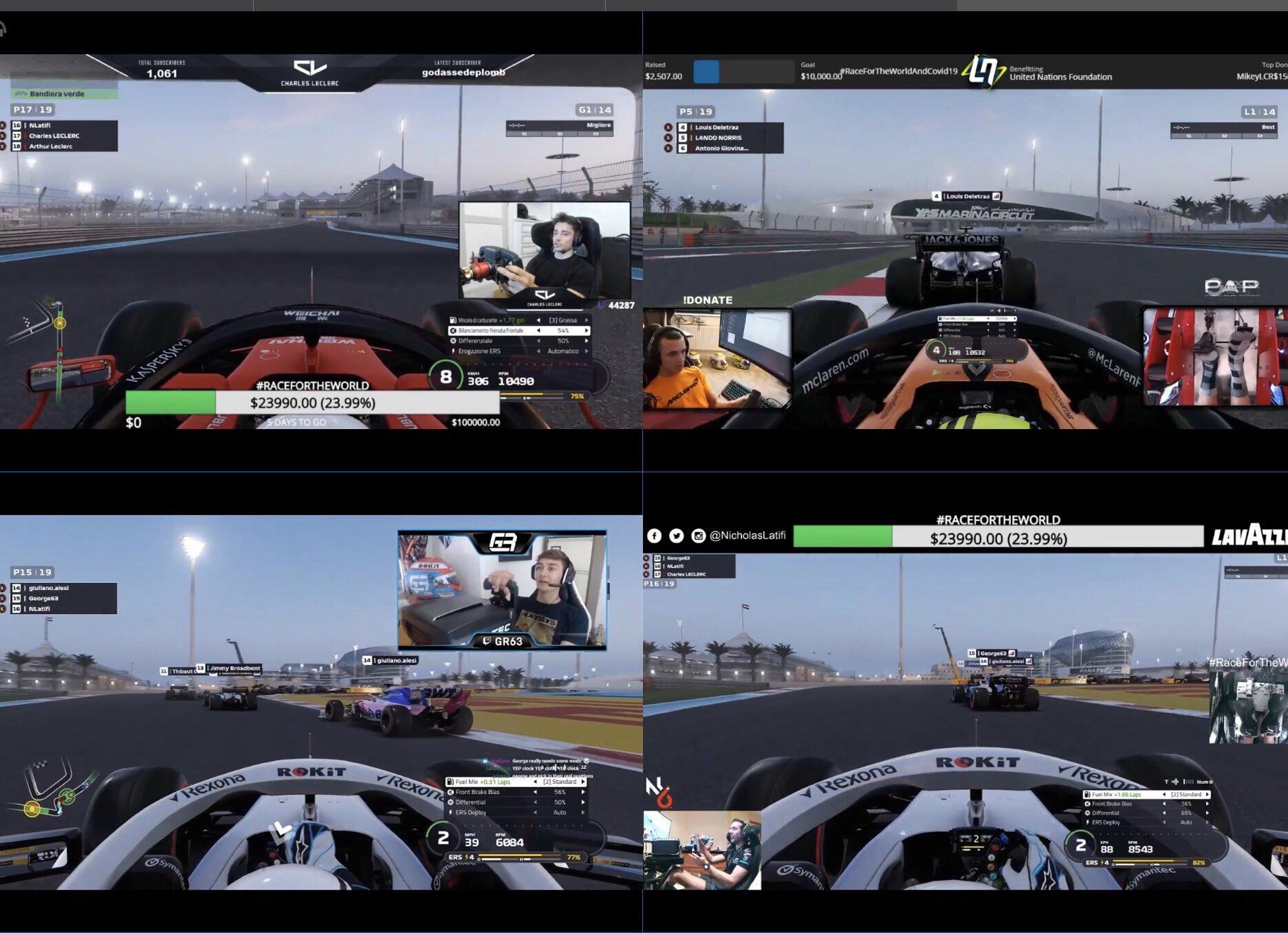 Des pilotes de F1 lancent un championnat virtuel caritatif