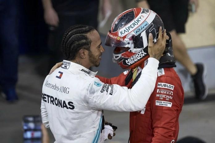 Lewis Hamilton consoles Charles Leclerc