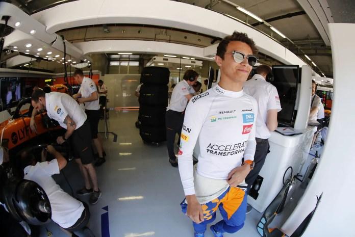 f1chronicle-Lando Norris, McLaren, in the garage