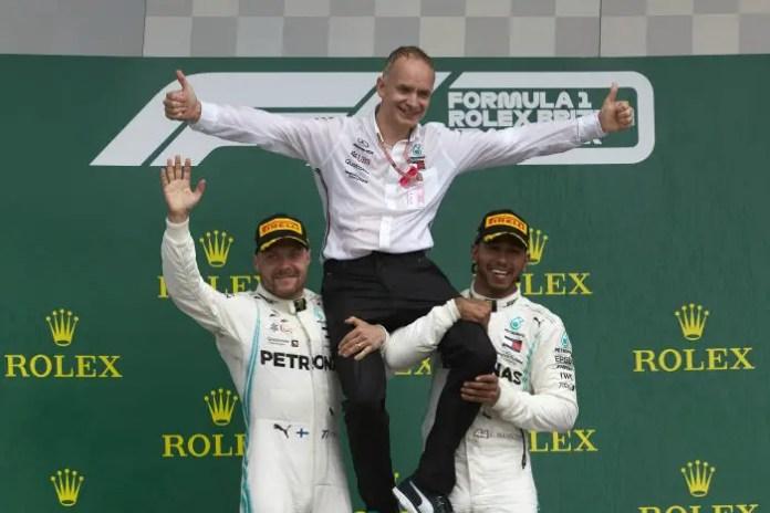 2019 British Grand Prix, Sunday - Valtteri Bottas and Lewis Hamilton with Chief Designer John Owen (image courtesy Mercedes-AMG Petronas)