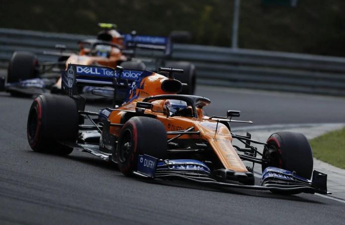 2019 Hungarian Grand Prix, Sunday - Carlos Sainz, McLaren MCL34, leads Lando Norris, McLaren MCL34 (image courtesy McLaren)