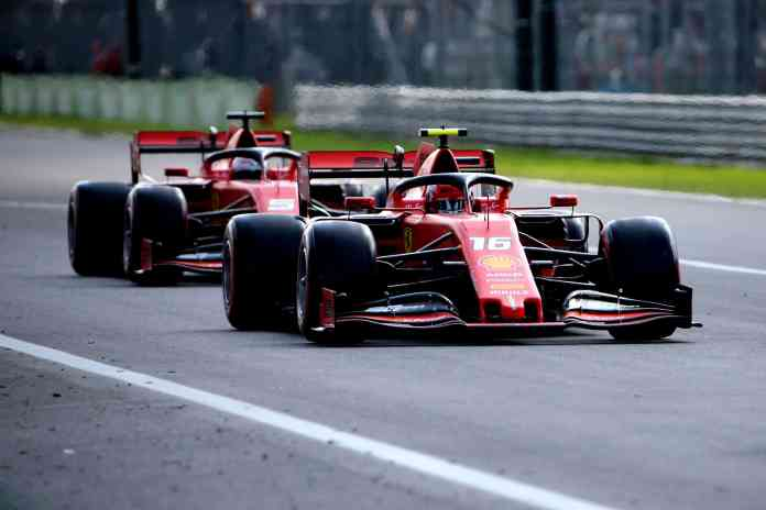 2019 Italian Grand Prix, Qualifying - Charles Leclerc tows Sebastian Vettel (image courtesy Scuderia Ferrari Press Office)